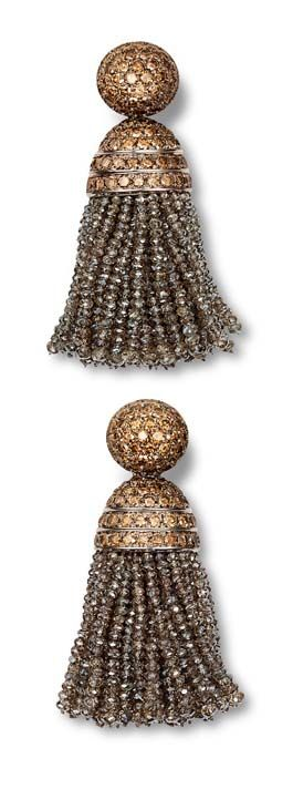 Hemmerle earrings in white gold with white and brown diamonds