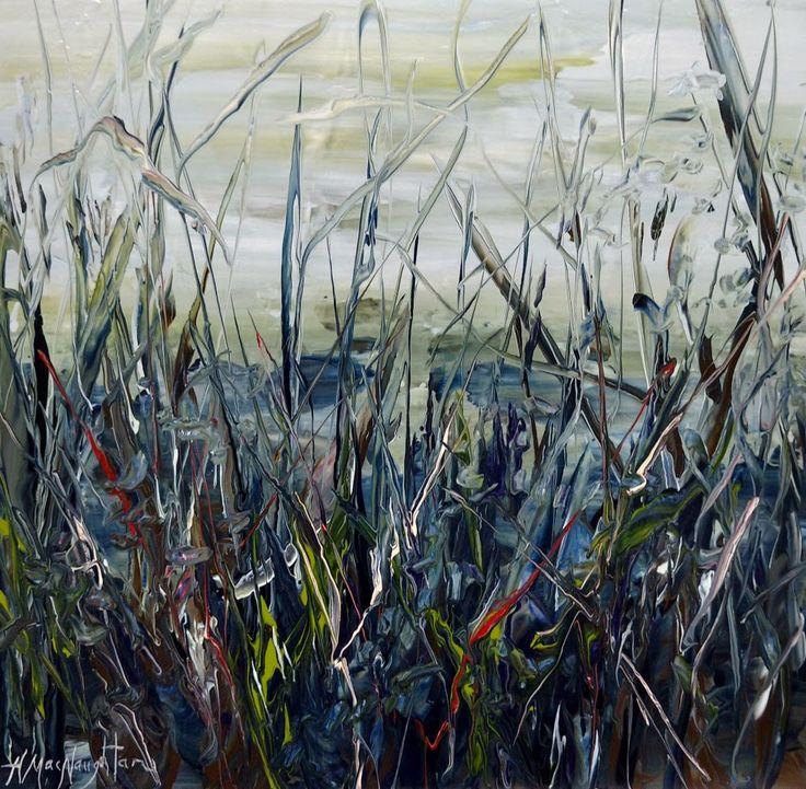 Moonlit Shoreline 12x12 inches. Acrylic on Canvas painting by Hanna MacNaughtan, copyright 2017