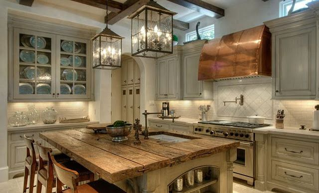 the perfect kitchen: Ideas, Dreams Kitchens, Lights Fixtures, Rustic Kitchens, Range Hoods, Kitchens Islands, House, Wood Countertops, Lanterns