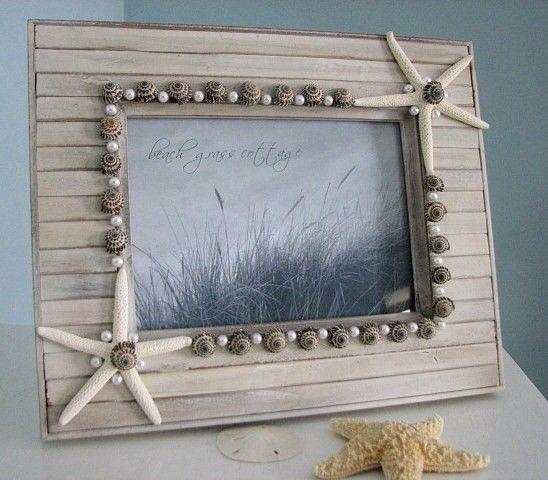 Seashell Frames Beach Decor - Beach Frames w White Starfish & Pearls, 5x7. $60.00, via Etsy.