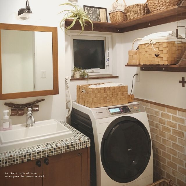 ウッドワンの洗面台/流木/かご収納/バス/トイレのインテリア実例 - 2016-01-08 20:59:38 | RoomClip(ルームクリップ)