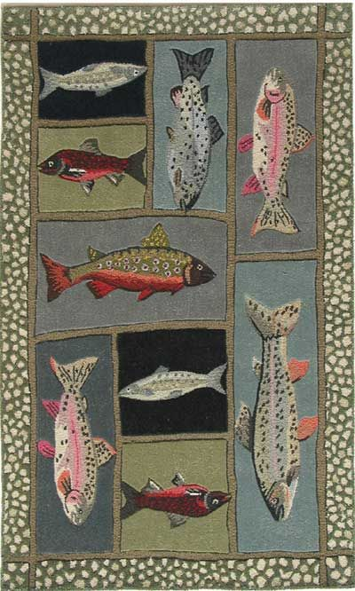 49 best hooked fish rugs images on pinterest wool area for Fish bathroom rug