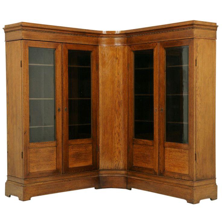 Unusual Antique Oak Corner Bookcase Antiques Bookcases