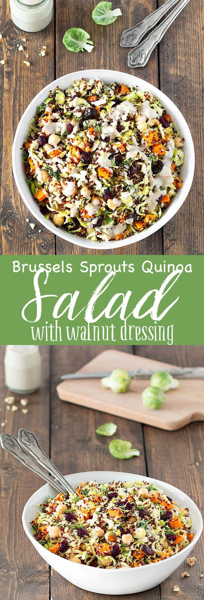 This hearty chopped Brussels sprout quinoa salad features tender roasted sweet potato, buttery chickpeas, sweet cranberries, crunchy walnuts and a delicious walnut dressing.