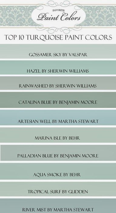 Color ideas for kitchen  My Top Ten Turquoise Paint Colors - Favorite Paint Colors