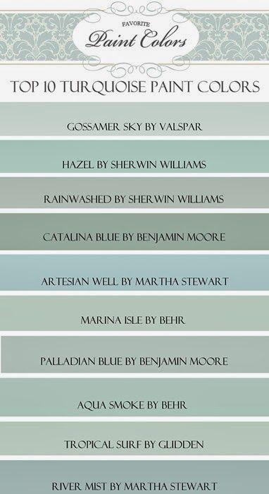 My Top Ten Turquoise Paint Colors - Favorite Paint Colors