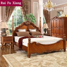 European rustic wood structure double bed with unique design and handmade…