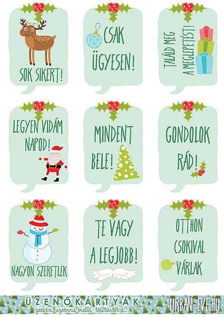 Hétköznapi kedvesség: nyomtatható karácsonyi/téli üzenőkártyák