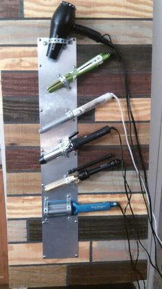 Salon tool holder, diy salon tool organizer, leftover boards and $20 at Home depo.
