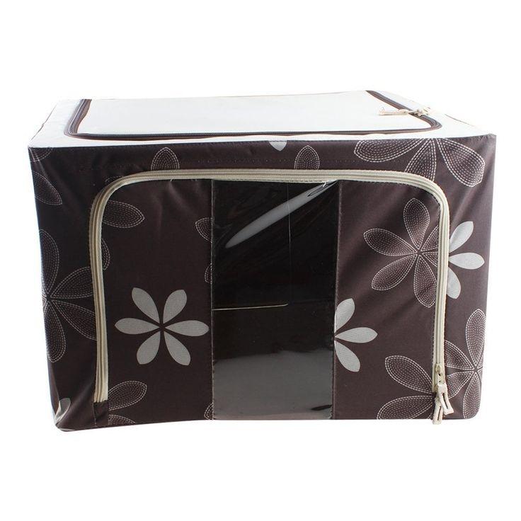 AGPtek 66L 50x40x33cm Foldable Storage Box Clothes Storage Case, Silver stainless steel