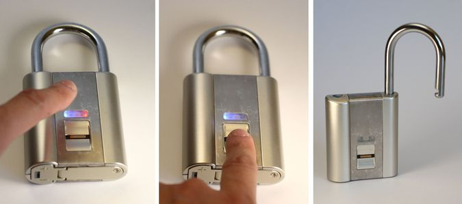 Candado de alta seguridad con reconocimiento de huellas digitales  -  High security lock with fingerprint recognition