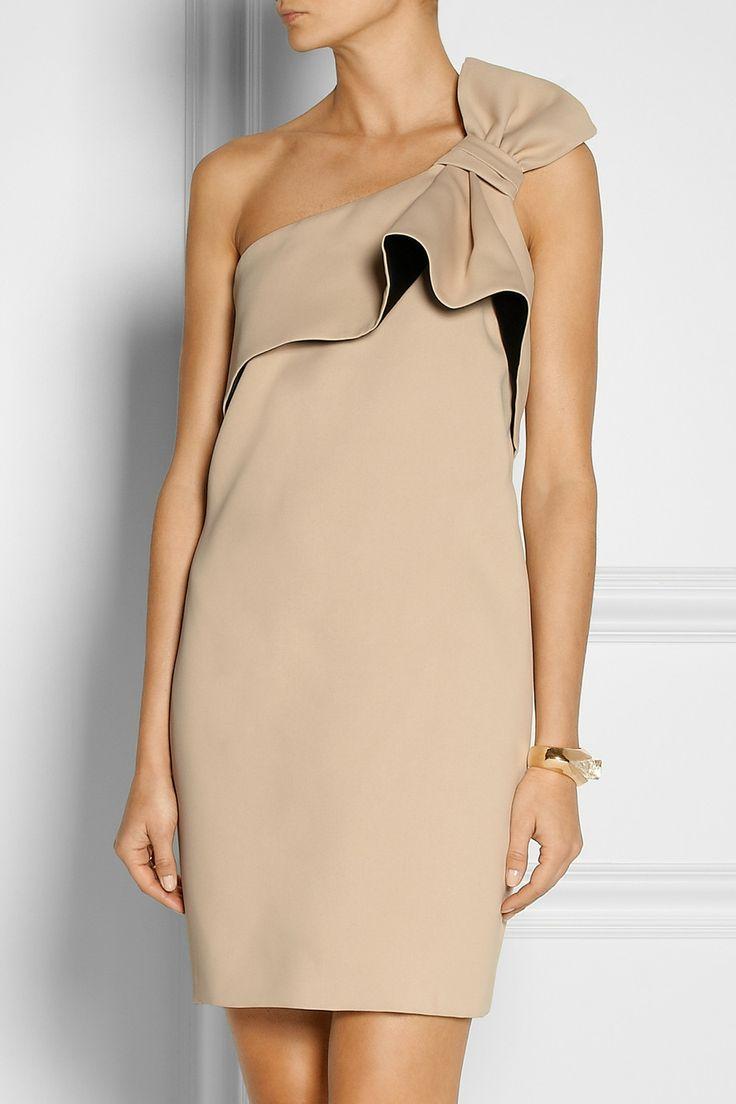 Halston Heritage|Bow-embellished twill mini dress