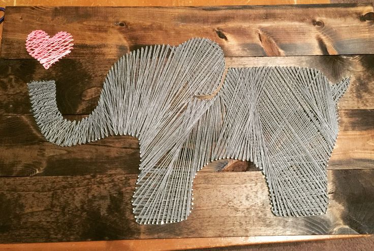 Elephant string art. Nursery wall decor. Easy and fun