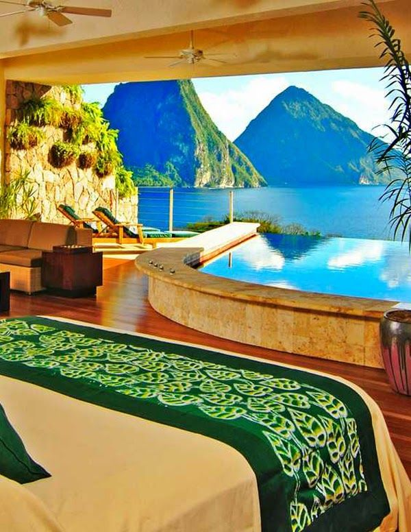 This view I could wake up to each and every day for the rest of my life! Jade Mountain Resort, St. Lucia Caribbean