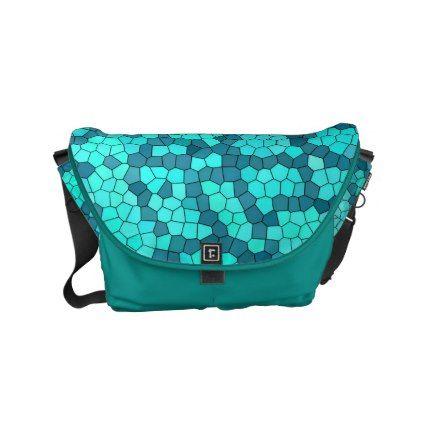 Turquoise Teal Blue Pattern Small Messenger Bag - chic design idea diy elegant beautiful stylish modern exclusive trendy
