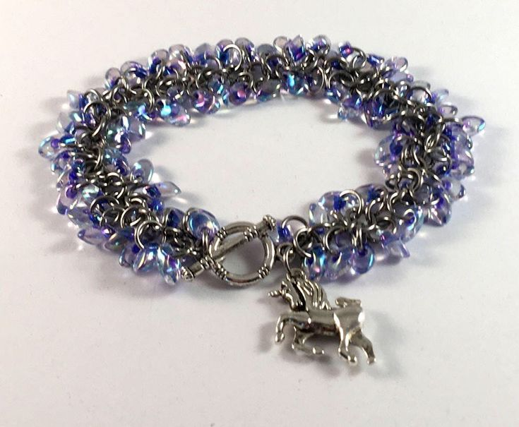 Excited to share the latest addition to my #etsy shop: Beaded chainmaille bracelet - Shaggy bracelet in purple lined crystal - unicorn charm bracelet