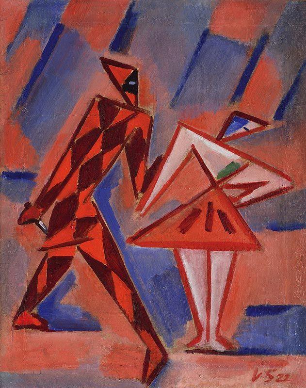 Václav Špála: Harlekýn a Kolombína /1922/ olej na plátně / 64 x 51  (CZECH AVANTEGARDE ART - The Group Tvrdošíjní - The Stubborn)