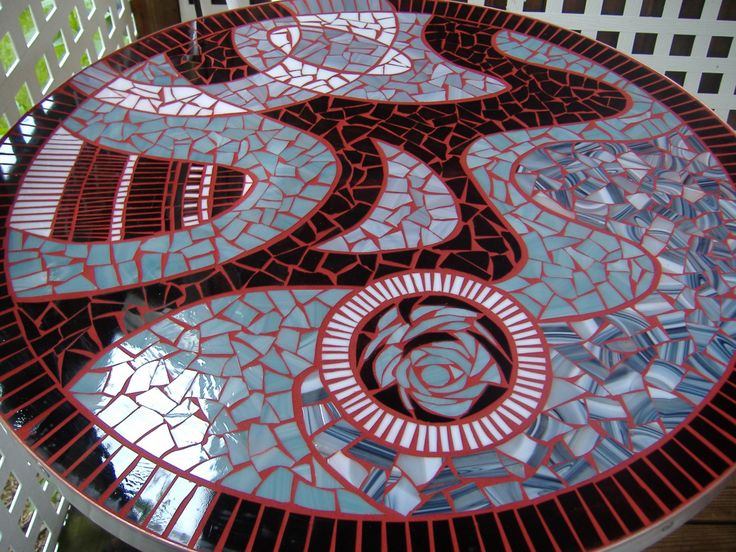 Round Mosaic Table Top Black White Red Blood Roses by TRWmosaics, $799.00