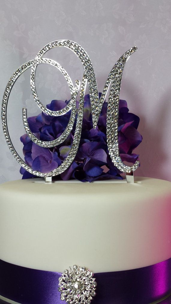 swarovski crystal monogram wedding cake topper 6 initial monogram cake topper by 20674