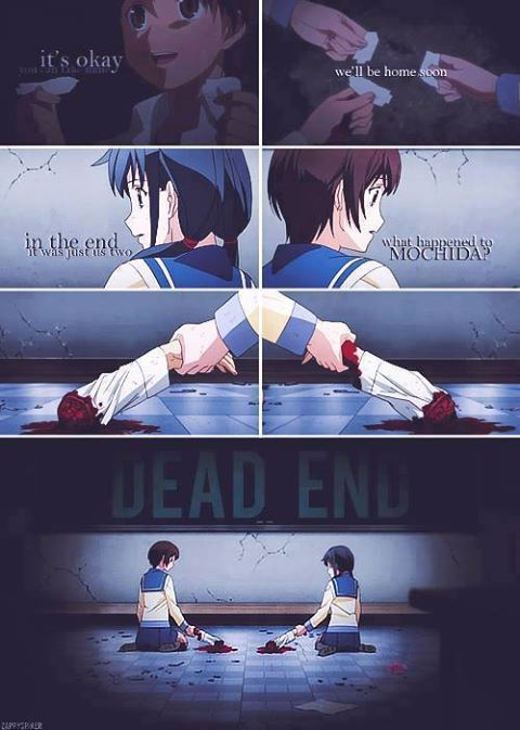 Corpse Party, this end freaked me out, it just ended right after this scene!