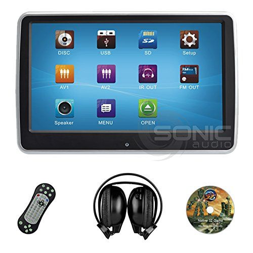 """Sonic Audio ® HR-10CT - Universal Touch-Screen 10.1"""" Tablet-Style Clip-On Headrest DVD Player/Screen with USB/SD and Wireless Infrared Headphones - Plug-and-Play Rear-Seat Entertainment System. Ultra-Thin Design - Plug-and-Play Touch-Screen Rear-Seat Entertainment System with a 10.1"""" High Definition 1080p Display. Market leading build quality featuring a Sony DVD player. DVD/USB/SD Media Inputs and a free Games Disc with controller. Patented Easy-Clip system allows for no-damage…"""