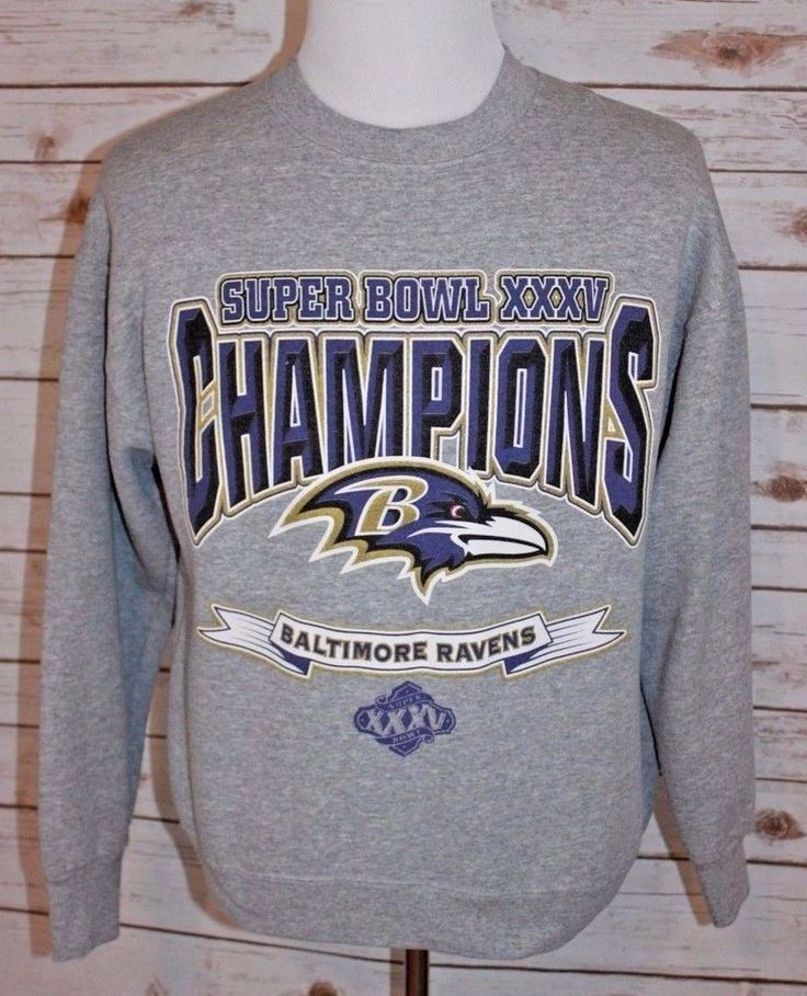 Baltimore Ravens Men's Large Super Bowl XXXV Crewneck Sweatshirt Gray NFL #BaltimoreRavens