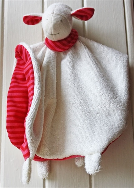 Picture of NEW!!!  Baby Comforter, Raspberry striped Lamb