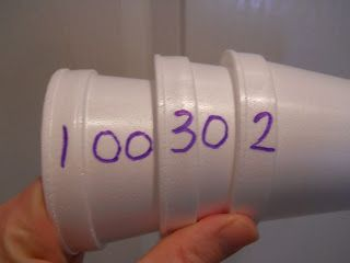 I love this idea for teaching place value!  If you push the cups together you could read 132.  Great idea!