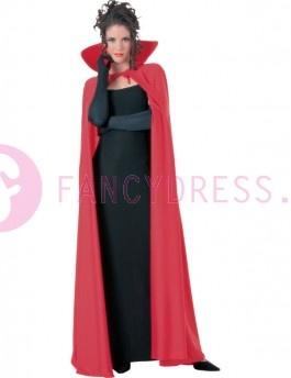 Lange Rode cape met opstaand schuim kraagje.  Lengte 143 cm.    Maten voor dit kostuum zijn:  One Sizefits most