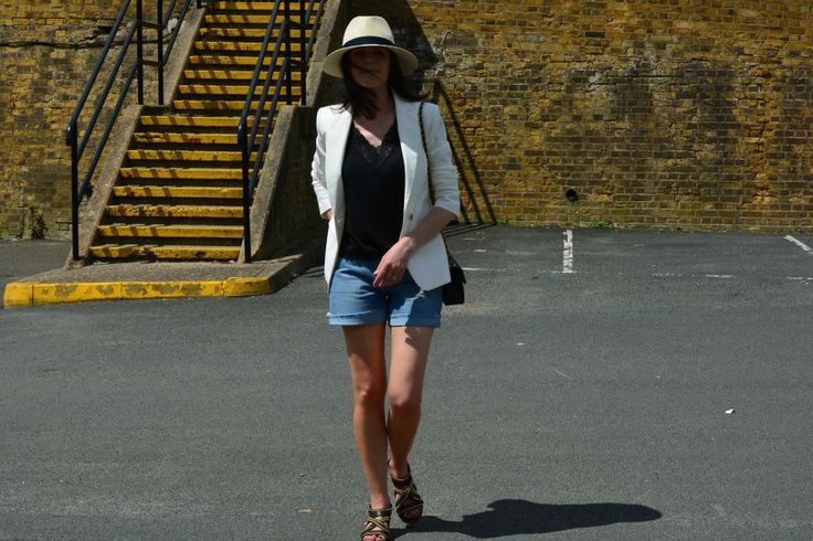Marks and Spencer White top Style Challenge Fashion over 40 - white blazer with denim shorts and vintage chanel accessories