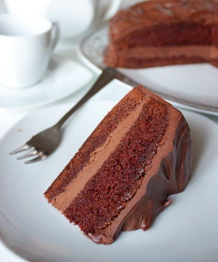 Раз уж у нас с блогом сегодня праздник – держите шоколадный торт. Вкусный, нежный и шоколадный-прешоколадный 🙂 Корж у этого торта сам по себе влажный и самодостаточный, но я его дополнительно пропитываю ликером, поскольку мои любят торты повышенной влажности. Я пробовала пропитывать амаретто и бейлисом, но подойдут и другие ликеры…