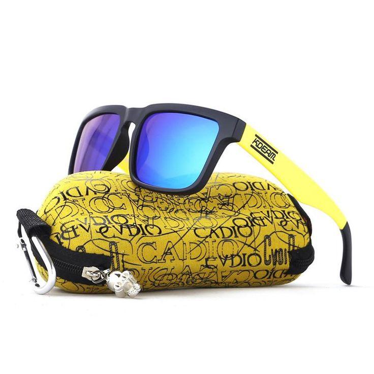KDEAM Sport Sunglasses Men Square Polarized Sun Glasses Black&Yellow frame HD Blue lens UV400 With Hard Case KD901P-C2