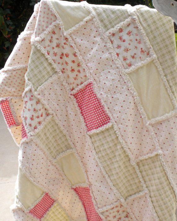 Rag Quilt Color Ideas : Shabby Vintage - Cottage with Pastels Colors Rag Quilt Summer Quilt SOLD quilts Pinterest ...