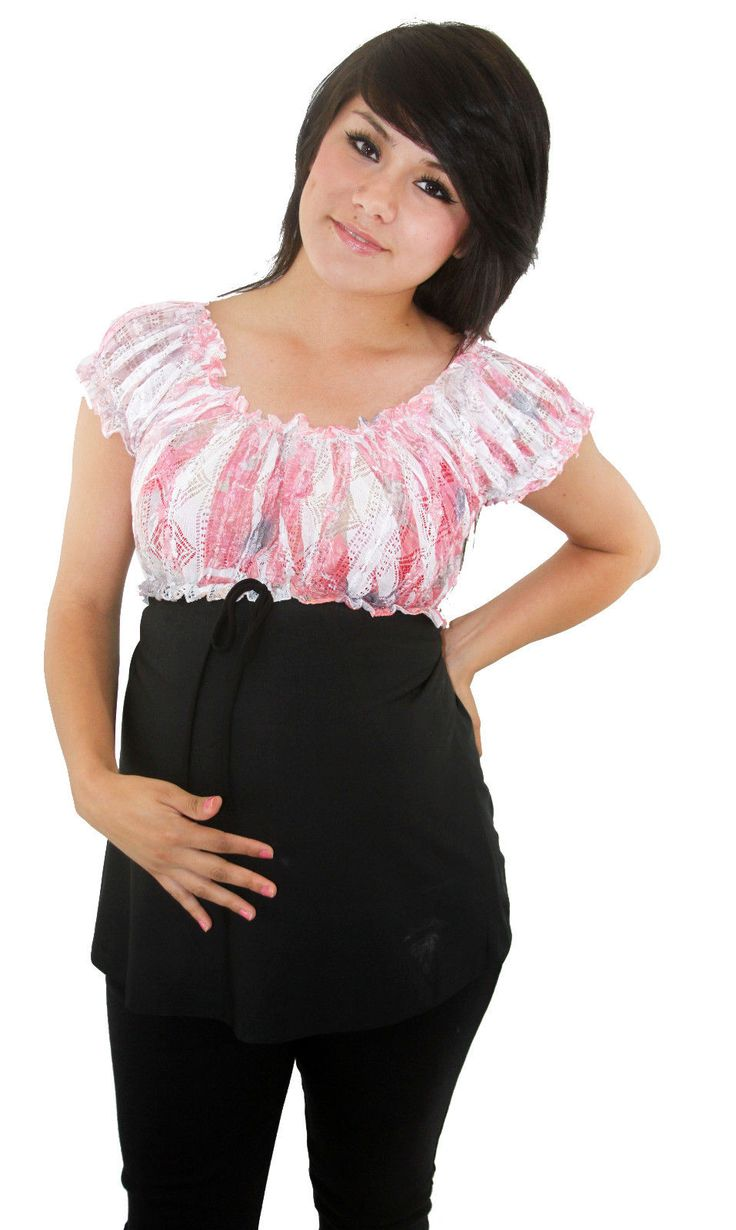 Pink Lace Maternity Short Sleeve Black Lace Top Womens