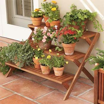 Awesome Tiered Wood Plant Stand