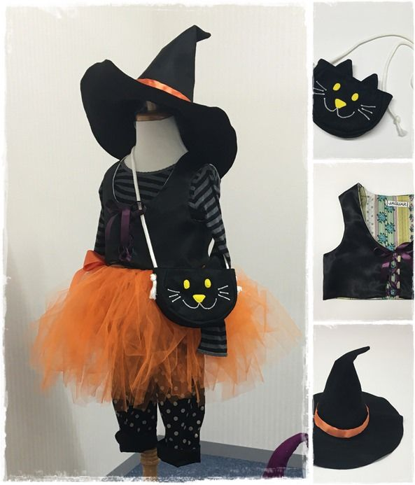 Ready for Halloween costume this year! Becoming a witch, make hat, vest, Tulle skirt and kitty pouch. Let's collect small candies in your kitty pouch. ハロウィンに向けて衣装を作成!魔女をテーマに帽子とベスト、チュールスカート、猫ポーチを作りました。小さなお菓子は猫ポーチの中へ♪ #Halloween #costume #forkids #sewing #handmade #JAGUAR