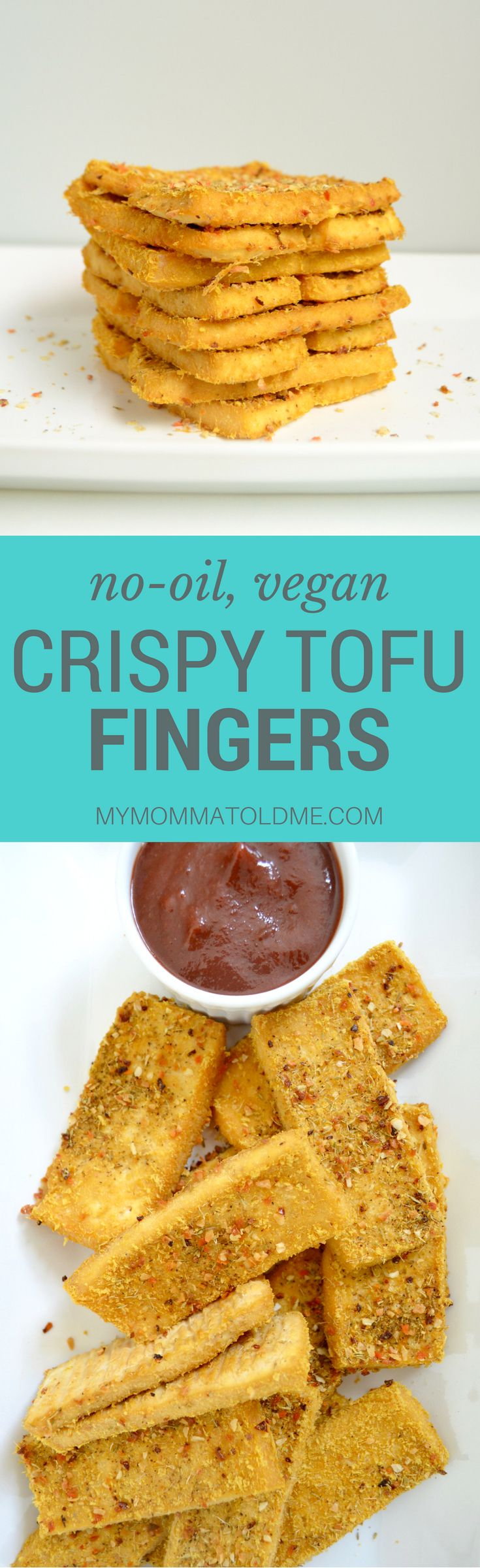 """No oil, 3 ingredient, crispy, baked tofu fingers!  This is seriously the best way to eat tofu!  You're going to be amazed at how crunchy these vegan """"chicken"""" fingers are and their oil free!!  These are perfect when you're on Dr. Fuhrman's nutritarian diet plan!"""