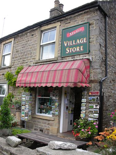 Yorkshire Dales. Muker village store. Lovely Dales village. I fondly remember little shops like this. They offered a little bit of everything you might need. I love the postcards displayed outside.