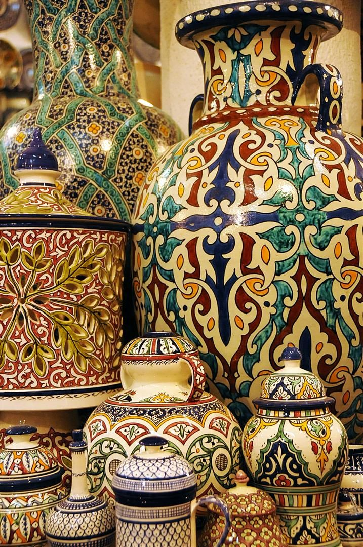 Hand painted pottery made all over Morocco especially in Fes and Safi!