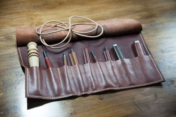 Handmade leather Tool Bag/ Hand-stitched roll bag