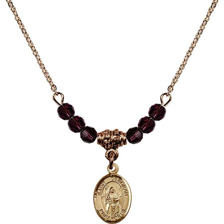 18-Inch Hamilton Gold Plated Necklace with 4mm Purple February Birth Month Stone Beads and Saint Deborah Charm. 18-Inch Hamilton Gold Plated Necklace with 4mm Amethyst Birthstone Beads and Saint Deborah Charm. Purple represents Amethyst, the Birthstone for February. Hand-Made in Rhode Island. Lifetime guarantee against tarnish and damage. Hamilton gold is a special alloy designed to have a rich and deep gold color.