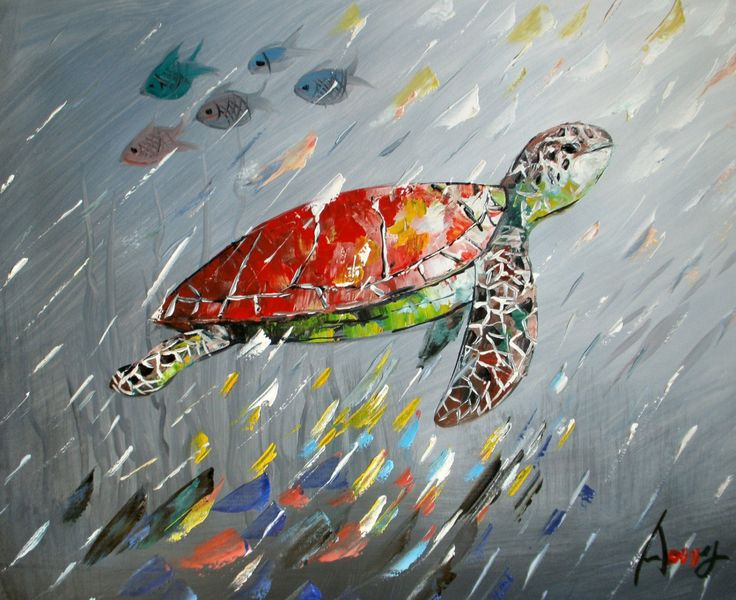 Artist Liyubo's Original 100%hand made oil Painting on wood frame abstract Animal red sea turtle signed by liyubo on Etsy