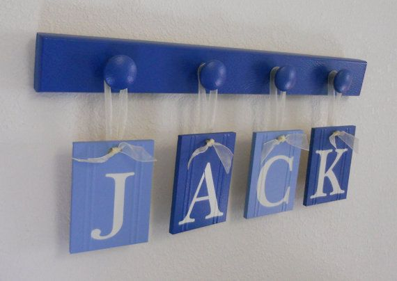 Baby Boy Nursery Decor Hanging Nursery Wall Letters Personalized for JACK Set Includes Name and 4 Wooden Pegs Blue