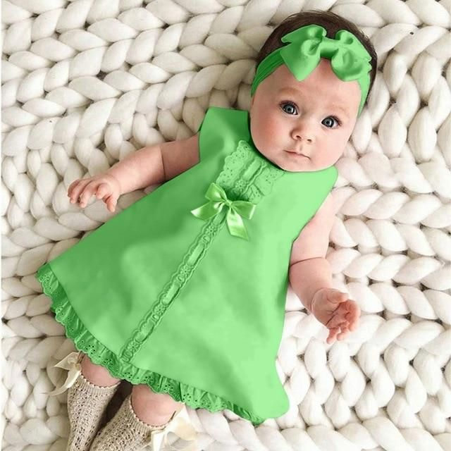 Toddler Infant Baby Girls Sleeveless Dress Outfits with Bonnet Ruffled Collar
