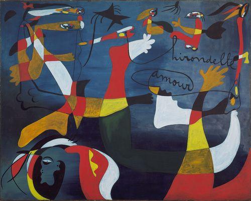 "Hirondelle Amour, | Barcelona, (late fall 1933-winter 1934) | Joan Miró (Spanish, 1893–1983) | 6' 6 1/2"" x 8' 1 1/2"""