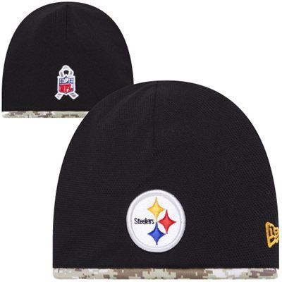 New Era Pittsburgh Steelers Salute to Service Youth On-Field Knit Beanie - Black/Digital Camo #SalutetoService