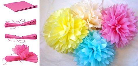 fiori di carta tessuto - per un fiore: 4 rettangoli di carta tessuto colorata da 24x12 cm. Mettete i rettangoli uno sopra l'altro e piegateli a fisarmonica per il lato più corto. Legate la metà con uno spago o nastro resistente e arrotondate gli angoli delle punte. Separate delicatamente ogni strato, finché il fiore non prenderà la giusta forma tonda.
