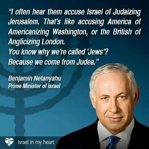 Oh how I adore Bibi. King David was the founder of Jerusalem. He was a Jew. Jesus started his good news In Jerusalem. A jew too. How can anyone think you can judanize Jerusalem, when it was already Jewish from the start.