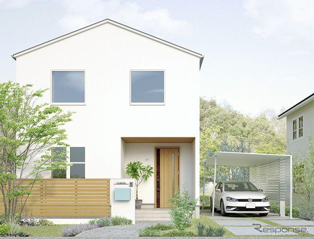 Lixilが次世代カーポート発表 アルミ材のシンプル構造で住宅にマッチ 施工性や質感を向上 5枚目の写真 画像 家 外観 カーポート 家 外構