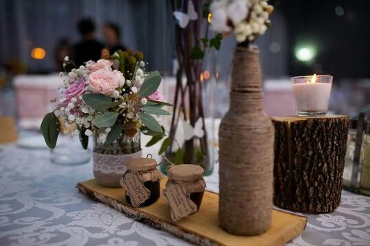 Rustic vintage wedding table centerpiece